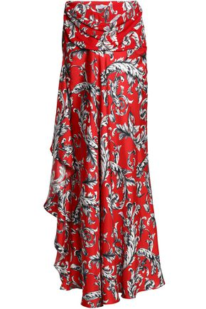 J.W.ANDERSON Draped printed crepe-twill maxi skirt