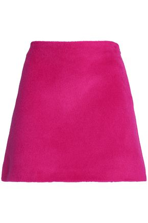 HELMUT LANG Brushed alpaca and wool-blend mini skirt