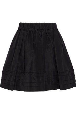 PRADA Flared gathered silk-faille mini skirt