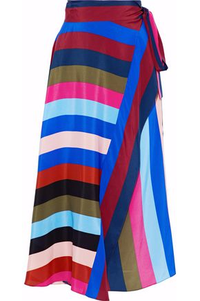 DIANE VON FURSTENBERG Striped silk-satin midi wrap skirt