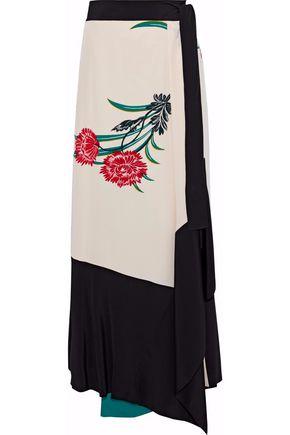 DIANE VON FURSTENBERG Floral-print silk midi wrap skirt
