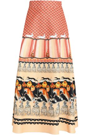TEMPERLEY LONDON Printed cotton-blend faille maxi skirt