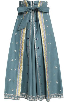 TEMPERLEY LONDON Tie-front embroidered cotton midi skirt