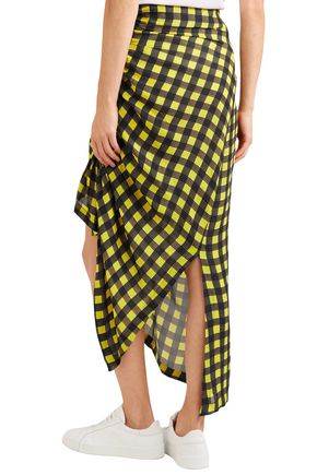 PREEN by THORNTON BREGAZZI Asymmetric ruched gingham silk midi skirt