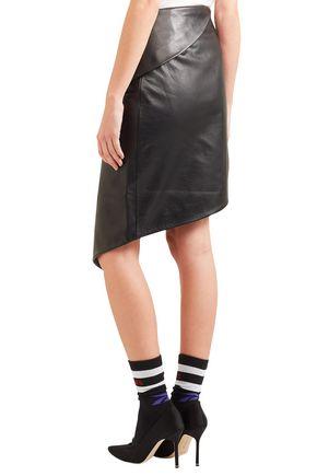 VETEMENTS Wrap-effect asymmetric textured-leather mini skirt