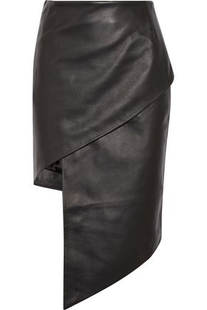 VETEMENTS Wrap-effect asymmetric textured-leather mini skirt