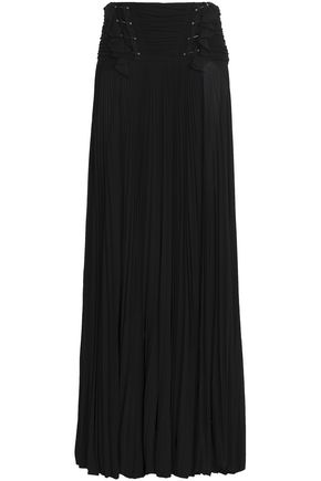 WOMAN EMBELLISHED PLEATED CREPE DE CHINE MAXI SKIRT BLACK