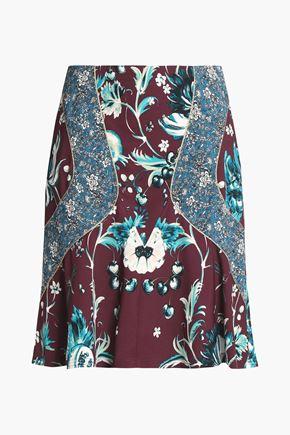 ROBERTO CAVALLI Paneled floral-print crepe skirt