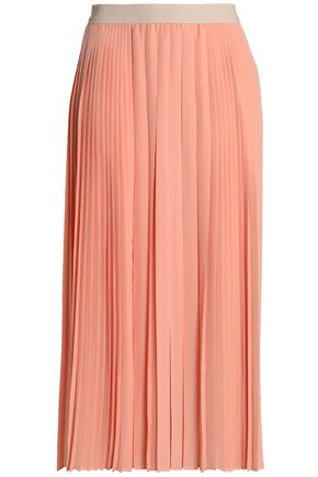 AGNONA Pleated silk midi skirt
