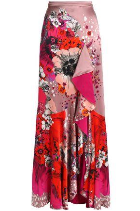 ROBERTO CAVALLI Ruffled floral-print silk-satin maxi skirt