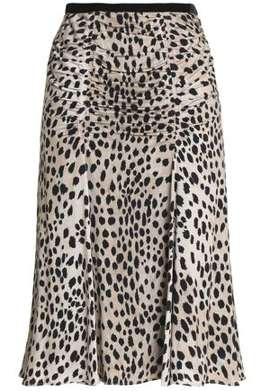 ROBERTO CAVALLI Ruched printed silk and wool-blend skirt