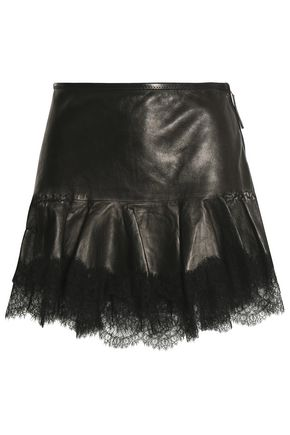 ROBERTO CAVALLI Lace-trimmed leather mini skirt