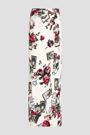 ROBERTO CAVALLI Wrap-effect floral-print stretch-jersey maxi skirt