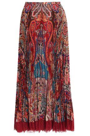 ROBERTO CAVALLI Pleated printed silk-crepe maxi skirt