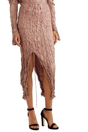JUAN CARLOS OBANDO Crinkled silk-satin midi skirt