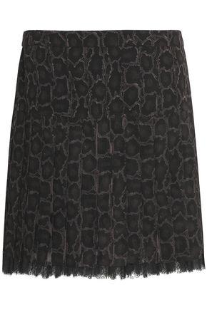 ROBERTO CAVALLI Lace-trimmed snake-print silk-georgette mini skirt