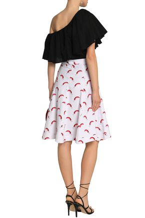 ISOLDA Flared printed stretch-cotton skirt