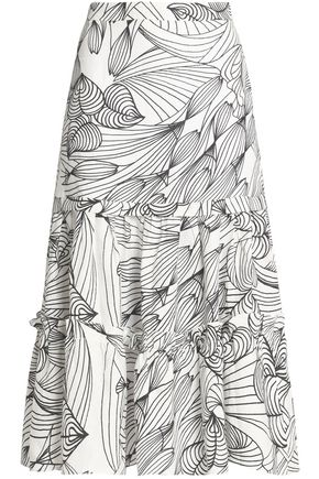 ISOLDA Gathered printed linen midi skirt