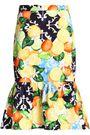 ISOLDA Fluted printed cotton-blend skirt