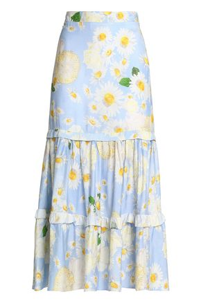 ISOLDA Gathered floral-print crepe midi skirt