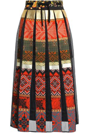 STELLA JEAN Organza-paneled printed cotton-blend midi skirt