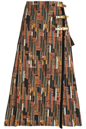 STELLA JEAN Printed cotton-blend wrap skirt