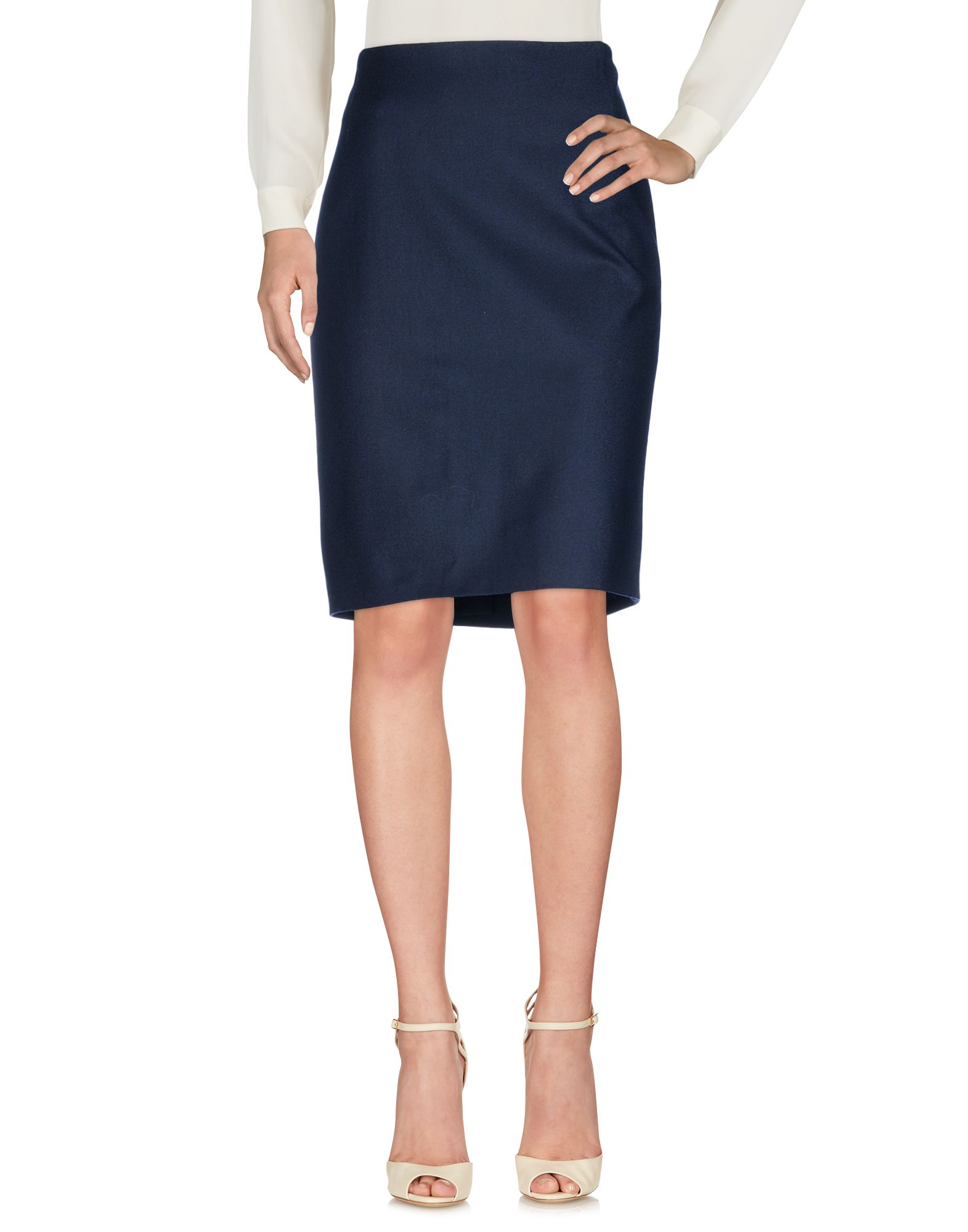 BARBARA LOHMANN Knee Length Skirt in Dark Blue