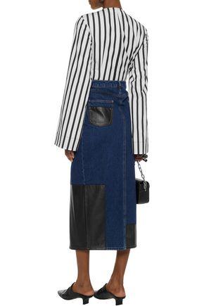McQ Alexander McQueen Faux leather-paneled denim midi skirt