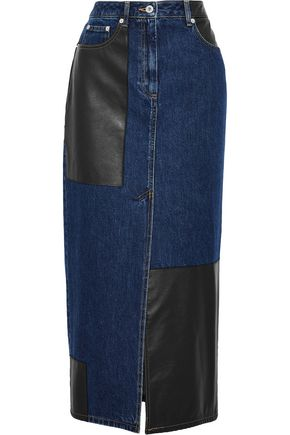 McQ Alexander McQueen Faux leather-paneled denim midi skirt