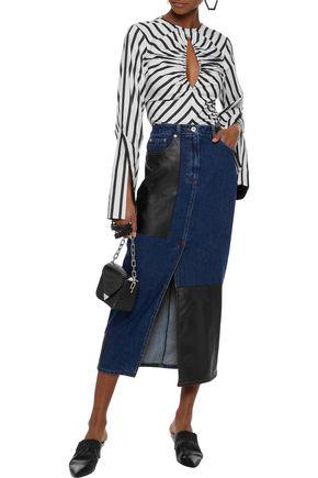 893d6829d Faux leather-paneled denim midi skirt | McQ Alexander McQueen | Sale ...