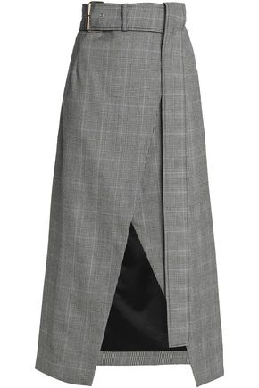 SOLACE LONDON Checked wool wrap skirt