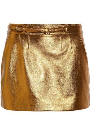 GUCCI Belted metallic leather mini skirt