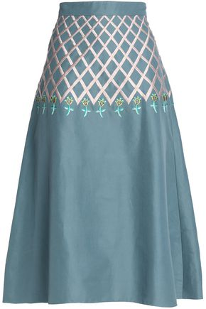 TEMPERLEY LONDON Embroidered cotton midi skirt