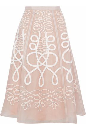 TEMPERLEY LONDON Embroidered silk-organza skirt