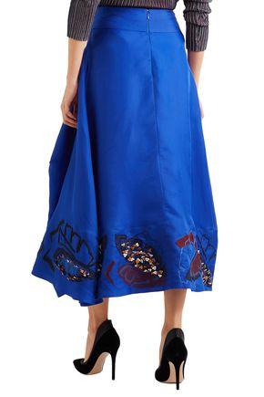 ROKSANDA Floral-appliquéd draped silk midi skirt