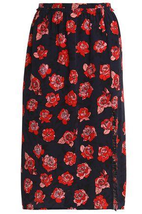 MARKUS LUPFER Floral-print silk-crepe midi skirt