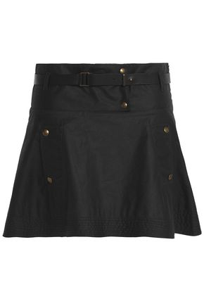 BELSTAFF Button-detailed coated cotton woven mini skirt