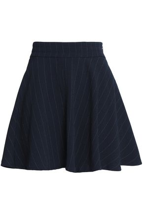 GANNI Pinstriped crepe mini skirt