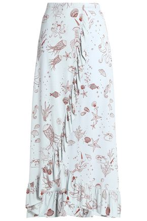 GANNI Convertible wrap-effect printed jersey maxi skirt