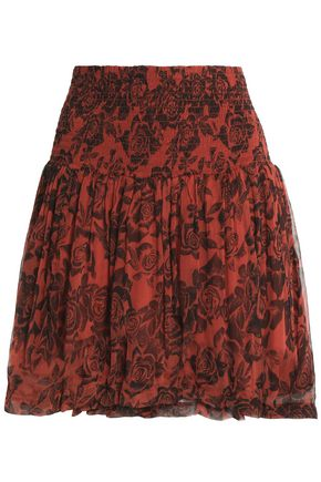 GANNI Smocked floral-print crepe mini skirt