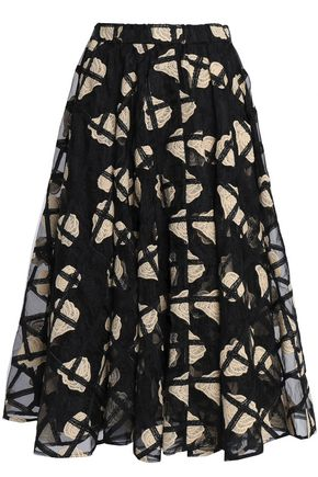 CO Embroidered organza midi skirt