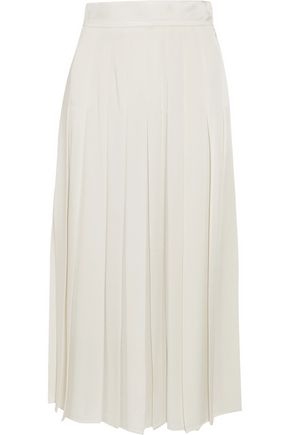FENDI Pleated satin-crepe midi skirt