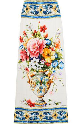 DOLCE & GABBANA Printed stretch-silk maxi skirt