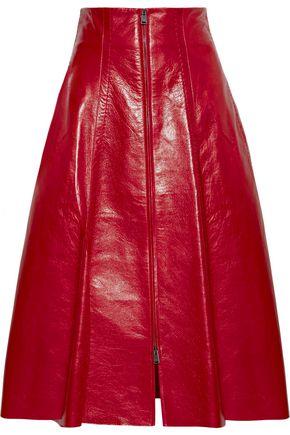 FENDI Pleated textured-leather midi skirt