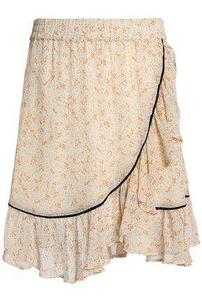 GANNI Clermont wrap-effect floral-print georgette mini skirt