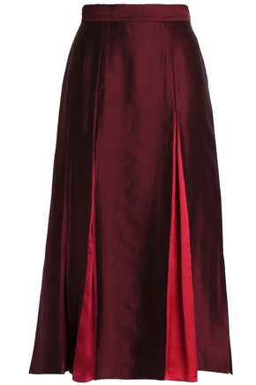 ROKSANDA Georgette-paneled satin midi skirt