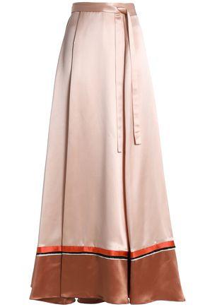 ROKSANDA Color-block satin maxi wrap skirt
