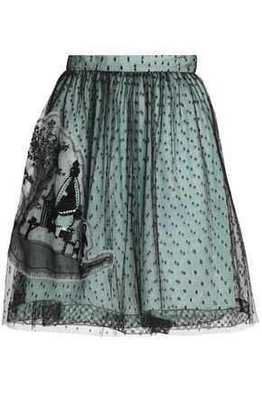 REDValentino Embellished lace mini skirt