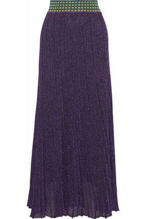 MISSONI Pleated metallic wool-blend maxi skirt