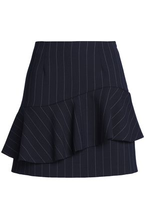 CLAUDIE PIERLOT Layered striped twill mini skirt